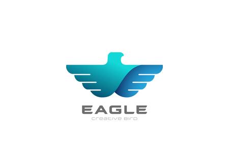 Eagle flying soaring Logo design vector template.  Bird Falcon Hawk Heraldic Logotype concept. Heraldry icon