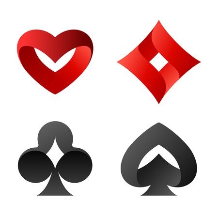 Jugando a las cartas vector símbolos. Picos picos, corazones, diamantes, logotipos cruzados.