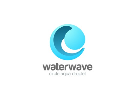 Circle Sphere Wave Logo abstract design vector template 3D style.  Water drop Logotype concept icon