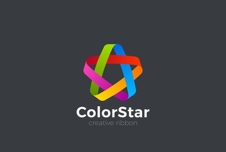 Colorful Looped Ribbon Infinite Star Logo design vector template.  Social Teamwork Friendship Community symbol emblem Logotype concept icon Иллюстрация