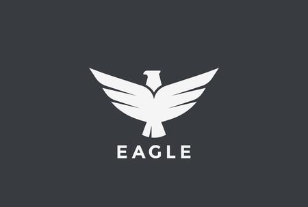 Eagle vliegen stijgende Logo ontwerpsjabloon vector. Bird Falcon Hawk Heraldic Logotype-concept. Heraldiek pictogram