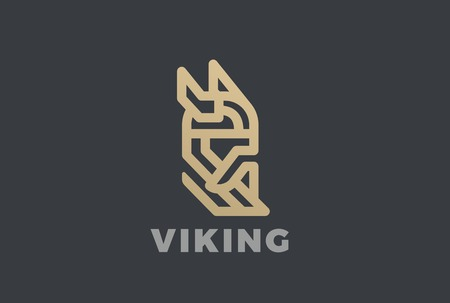 Viking Odin Head in Helmet with Beard Logo design vector template Linear style.  Ancient Medieval Norse Warrior Knight Logotype vintage luxury concept icon
