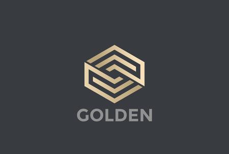 Lineare Art des Goldhexagon-Pfeil-Logos Endlosentwurfs-Vektorschablone. Goldene Firmenkundengeschäft-Luxus-Firmenzeichen-Konzeptikone Standard-Bild - 85873539