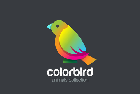 Colorful Bird sitting abstract Logo design vector template Illustration