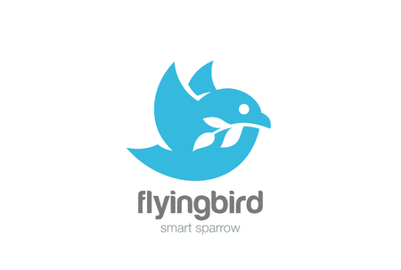 Funny Flying Bird abstract Logo design vector template.  Sparrow Logotype concept icon Negative space style Ilustrace