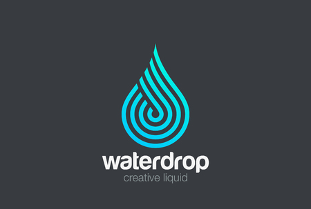 Water drop Logo design vector template Linear style. Blue Droplet lines aqua Logotype icon