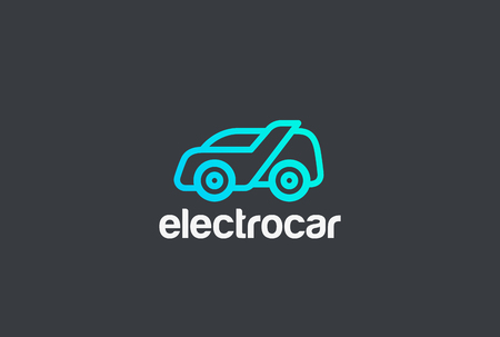 電気車抽象的なロゴ デザイン ベクトル テンプレート直線的なスタイルです。  配信タクシー車両ロゴのコンセプト アイコン  イラスト・ベクター素材
