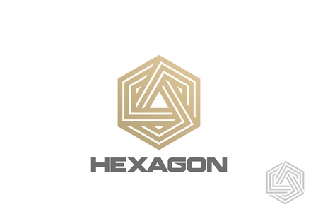 Gold Hexagon Logo looped infinity design vector template Linear style.  Golden Corporate Business Luxury Logotype concept icon