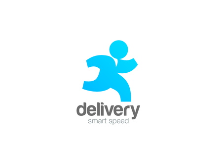 Running Man Delivery Logo design vector template 向量圖像