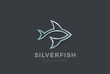 Metal Fish abstract silhouette Logo design vector template.  Seafood Restaurant Store Logotype concept icon