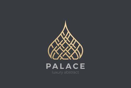 럭셔리 이슬람 돔 궁전 로고 디자인 벡터 템플릿입니다. 부동산 리조트 아파트 로고 타입 리니어 스타일
