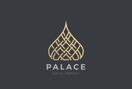 Luxury Islamic Dome Palace Logo design vector template.  Real Estate Resort apartments Logotype Linear style