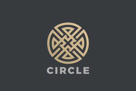 Luxury Circle Maze Cross Logo design vector template.  Labyrinth Logotype Linear style