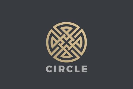 Luxury Circle Maze Cross Logo design vector template.  Labyrinth Logotype Linear style