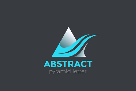 Letter A Wave Flame Logo design vector template.  Corporate Triangle Pyramid shape Logotype concept icon