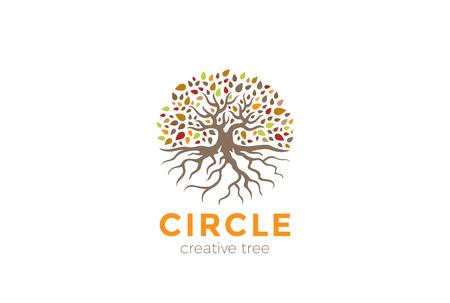 根ロゴ デザイン ベクトル テンプレートでサークル ツリー。  庭自然エコ有機ロゴ コンセプト アイコン