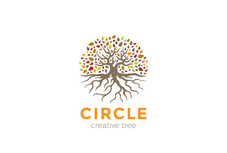 Circle Tree with Roots Logo design vector template.  Garden Natural Eco Organic Logotype concept icon Ilustracja