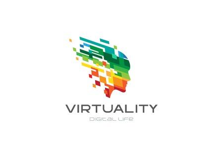 カラフルなピクセル正方形の創造的な頭の心のロゴ デザイン ベクトル テンプレートです。  仮想現実のデジタル ライフの未来的なロゴタイプ。エ