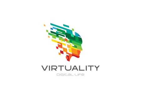 Colorful Pixel Squares Creative Head Mind Logo design vector template. Virtual reality Digital Life futuristic Logotype. Entertainment game play brain concept icon Vectores