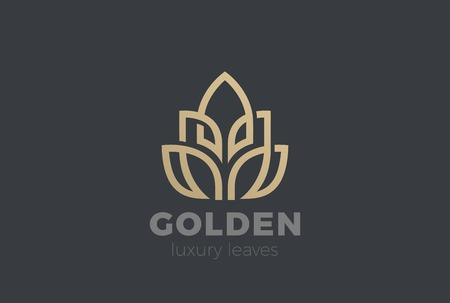 Golden Leaves Plant Logo design vector template Linear style.  Luxury Fashion Jewelry Logotype concept icon