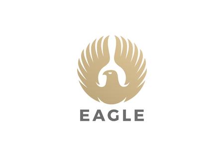 イヌワシは翼のロゴ形状ベクトル テンプレート円上昇しています。  高級企業紋章ファルコン フェニックス ホーク鳥ロゴタイプ コンセプト アイコ  イラスト・ベクター素材