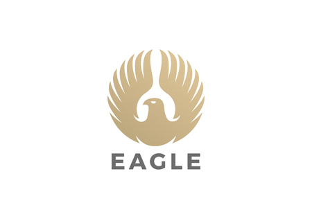 Golden Eagle stijgende vleugels Logo vector ontwerpsjabloon Cirkelvorm. Luxe corporate heraldische Falcon Phoenix Hawk vogel logo concept pictogram Stock Illustratie