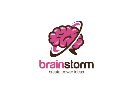 Think Brain Mind Logo design vector template.  Brainstorm generate ideas Logotype concept icon