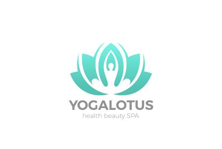 Yoga Lotus pose flower Logo design vector template. Health Beauty SPA Logotype concept icon
