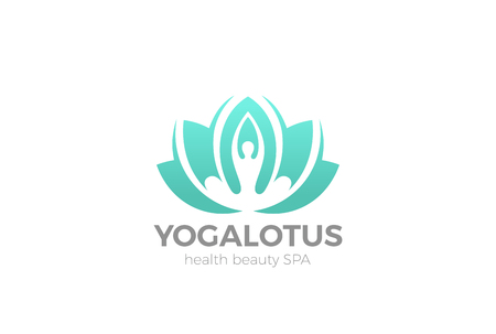 Yoga Lotus pose flower Logo design vector template.