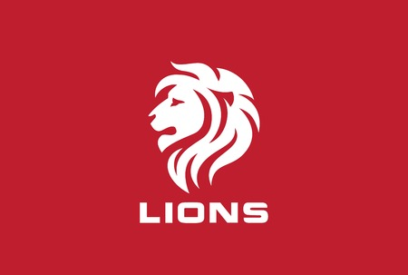 Lion Head Silhouette Logo design vector template. Wild animal Zoo Force Power Strength Logotype concept icon