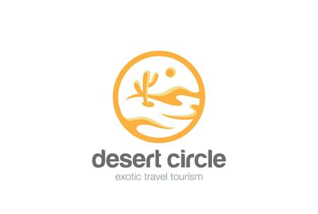 砂漠風景ロゴの円図形デザイン ベクトル テンプレートです。  旅行の観光庁ロゴタイプ コンセプト アイコン