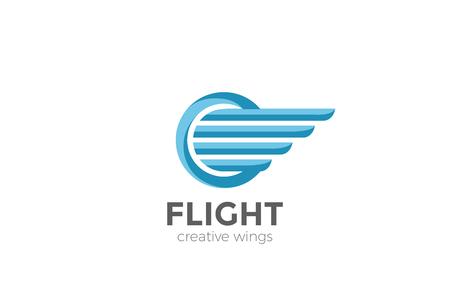 원형 날개 로고 디자인 벡터 템플릿. 항공기 비행 로고 타입 개념 아이콘 일러스트