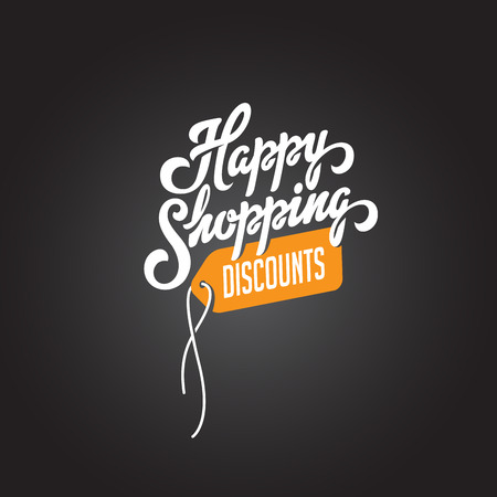 Happy Shopping Discounts text Lettering calligraphic composition vector Poster template