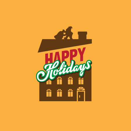 Happy Holidays Lettering vector composition with Santa Claus on House Roof with Bag of Gifts Ilustracja