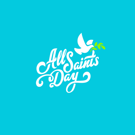 All Saints Day Text Lettering calligraphic composition vector Poster template 向量圖像