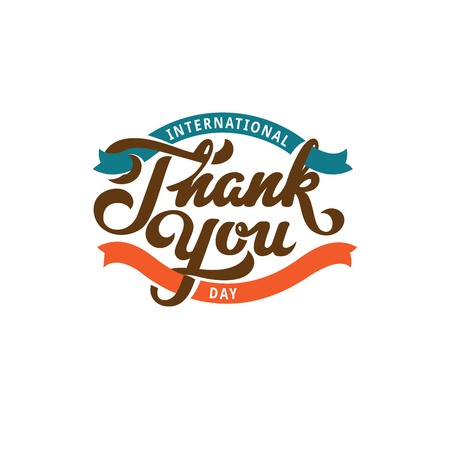 Thank you Text Lettering calligraphic composition vector Poster template