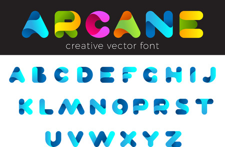 Creative Design vector Font of twisted Ribbon for Title, Header, Lettering, Logo.  Funny Entertainment Active Sport Technology areas Typeface. Colorful rounded Letters and Numbers