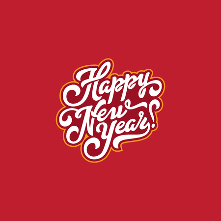 Happy New Year Text Lettering vintage calligraphic composition vector Poster template 일러스트