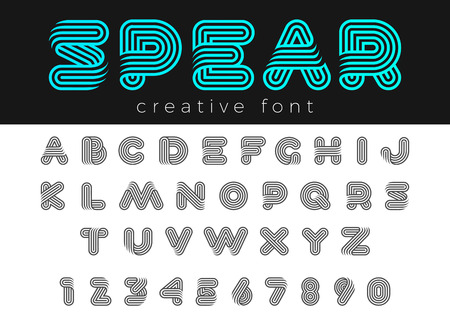 Linear Rounded Design vector Font for Title, Header, Lettering, Logo.  Funny Entertainment Active Sport Technology areas Typeface. Letters and Numbers