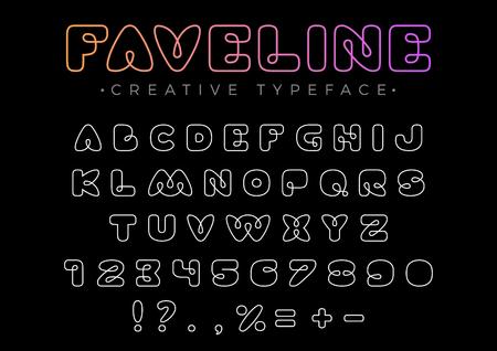 친절한 디자인 제목, 머리글, 글자, 로고, 모노그램을위한 벡터 선형 글꼴. 재미 있은 엔터테인먼트 비즈니스 서체. 문자, 숫자 라인 아트 스타일