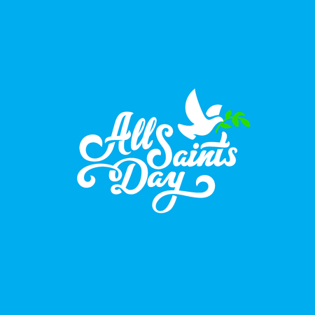 All Saints Day Text Lettering calligraphic composition vector Poster template Vettoriali