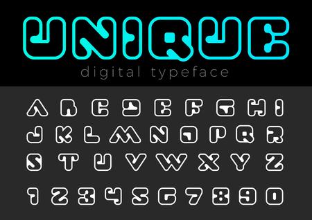 Square Digital vector Font design Illustration