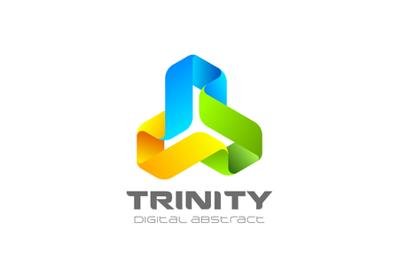 Trinity infinity Loop Logo design abstract vector template.  Ribbon triangle infinite looped shape Logotype concept icon Ilustracja