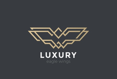 Eagle Wings abstract Logo design vector template Linear style. Falcon Hawk Luxury Fashion Corporate Business Logotype concept icon