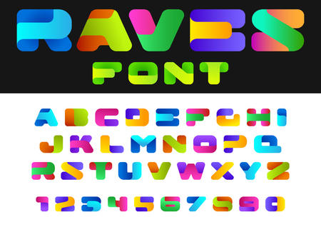 Creative Design vector Font of twisted Ribbon for Title, Header, Lettering, Logo.  Funny Entertainment Active Sport Technology areas Typeface. Colorful Letters and Numbers