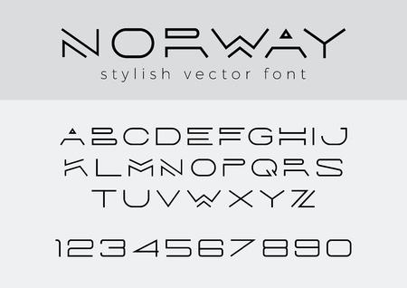 크리 에이 티브 디자인 제목, 머리글, 글자, 로고, 모노그램에 대 한 벡터 선형 글꼴. 기업 비즈니스 고급 기술 서체. 문자, 숫자 라인 아트 스타일 스톡 콘텐츠 - 89175728