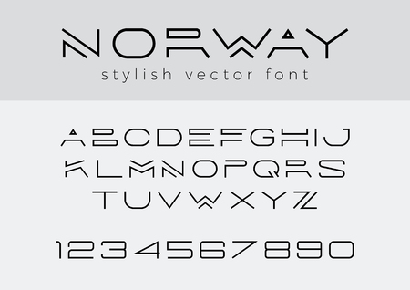 Fuente linear del vector creativo del diseño para el título, título, letras, logotipo, monograma. Tipo de tecnología de lujo de negocios corporativos. Letras, números Estilo de línea de arte