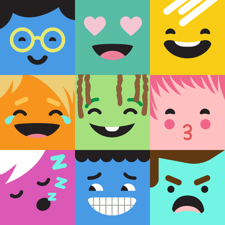 Emoji abstract vector design. Funny monster characters faces.  Smile Kiss Angry Happy Crying emotions