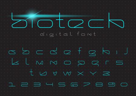 未来的ベクトルフォントデザイン。デジタルバーチャルリアリティ技術書体。  コンピュータのための文字と数字、ぢロボットハイテクのテーマ  イラスト・ベクター素材