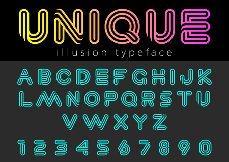 Linear Illusion vector Font for Title, Header, Lettering, Logo. Funny Entertainment Active Sport Technology areas Typeface. Letters and Numbers